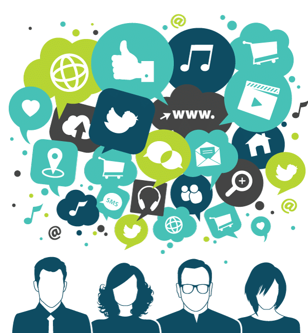 Users engaging in social media marketing